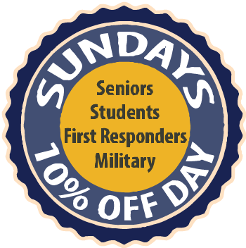 Every Sunday, Receive 10% your purchase for Seniors, Students. First Responders & Military!